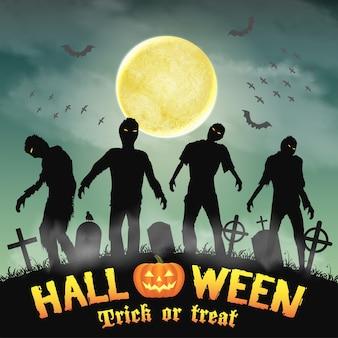 Halloween silhouette zombie in a night graveyard