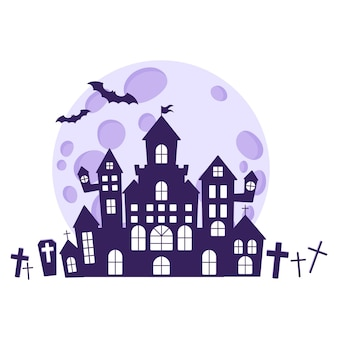 Halloween silhouettes of a medieval haunted castle in a cemetery against the backdrop of a full moon and bats. traditional halloween symbol and decorative element. vector cartoon isolated illustration