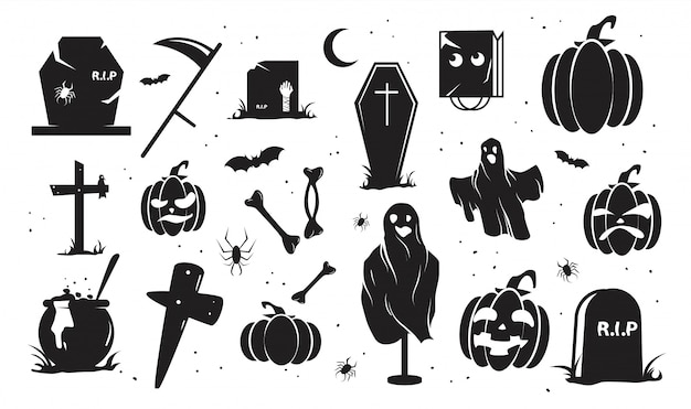 Halloween silhouettes one colour set