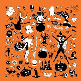 Halloween silhouettes. witch, pumpkin, black cat and spider for halloween party decor.