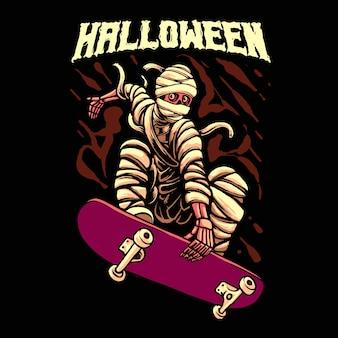 Halloween skateboarding mummy illustration