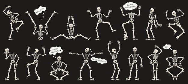 Скелеты хэллоуина. танцы скелетов, жуткие талисманы скелетов хэллоуина изолировали набор векторных иллюстраций. забавные скелеты персонажей. иллюстрация хэллоуин скелет, вечеринка танцевальные кости