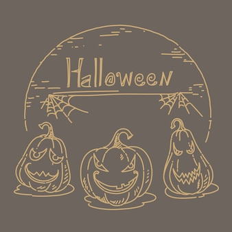 Halloween sketch hand drawn on brown background