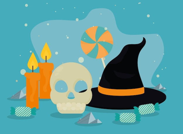 ハロウィーンの頭蓋骨と魔女の帽子