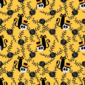Halloween skull and black cat seamless pattern.