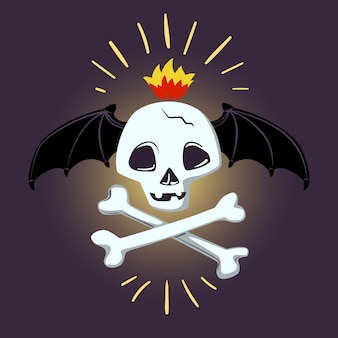 Halloween skull and bones. vector design for prints, tshirts, party posters and banners.