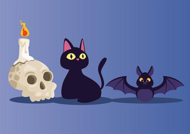 할로윈 해골 촛불 고양이와 박쥐 만화 디자인, 휴일 및 무서운 테마