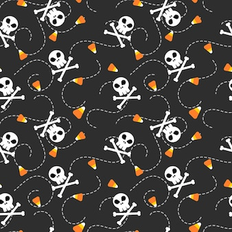 Halloween skull and candy corn seamless pattern.