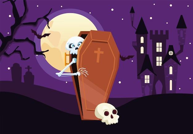 夜のデザイン、休日、怖いテーマで棺の中にハロウィンスカル漫画