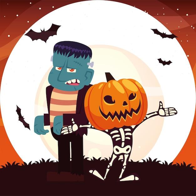 호박 마스크와 프랑켄슈타인 밤 디자인, 휴일 및 무서운 테마 일러스트와 함께 할로윈 두개골 만화