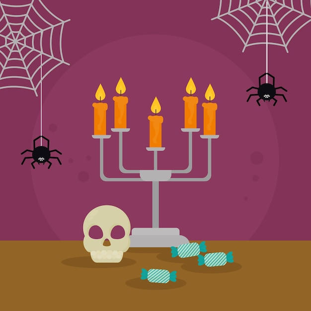 Halloween skull and chandelier