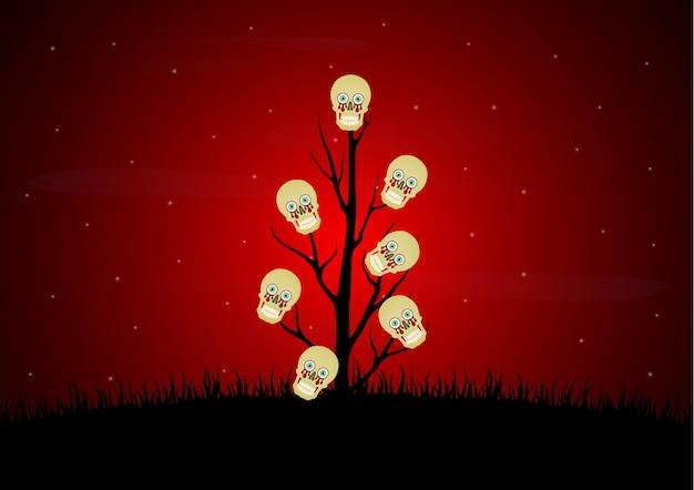Halloween skull dead dry tree