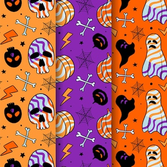 Halloween skull pumpkin and ghost candy, october hand drawn seamless pattern free vector