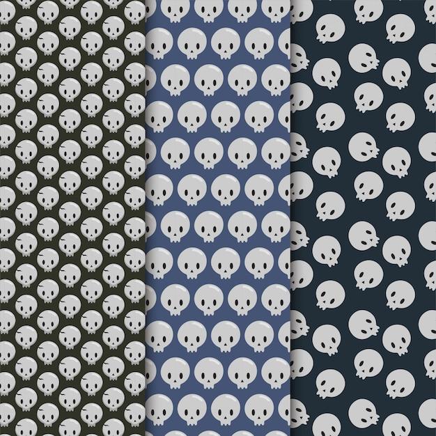 Halloween skull seamless pattern set