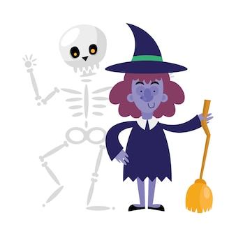 Halloween skull and witch cartoon , happy holiday and scary