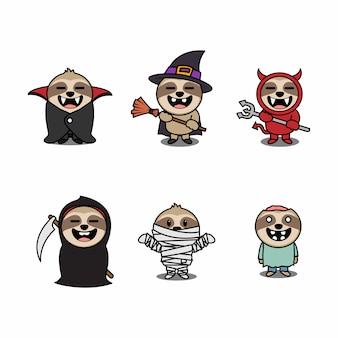 Halloween sloth cartoon character set