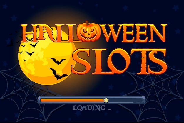 Halloween slots, screen background for slots game.  illustration