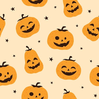 Halloween smiling pumpkin vector seamless pattern background, wallpaper, texture, printing