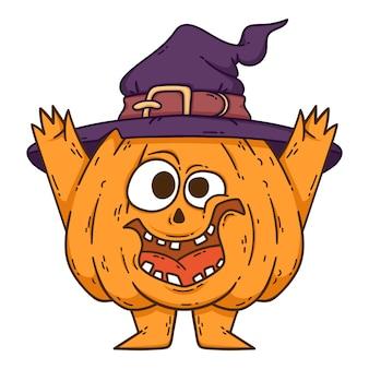 Тыква хеллоуина усмехаясь с руками, ногами и шляпой ведьмы.