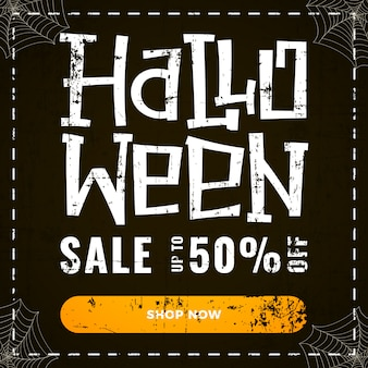 Halloween special discount offer banner on dark old scratched