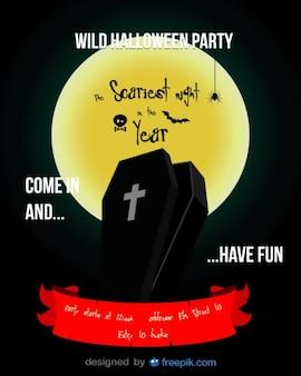 Листовку о хэллоуине с гробом в темной ночи