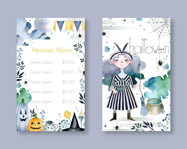 Halloween special menu watercolor template witch and pumpkins