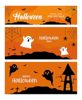 Специальное предложение на хэллоуин с привидениями и дизайном дома, магазин и тема электронной коммерции.
