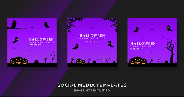 Halloween special sale banner template design.
