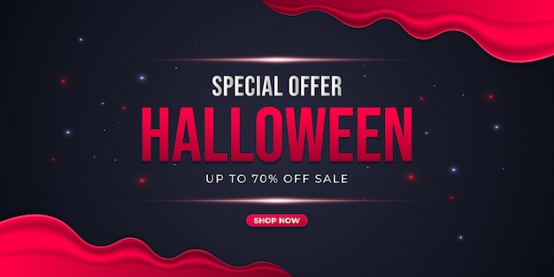 Halloween special sale banner with red and black background concept
