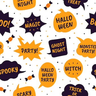 ハロウィーンの吹き出し。コミックバブル黒とオレンジ色のテキストハッピーハロウィン、魔法とパーティー、魔女のシームレスなベクトルパターン。幽霊の夜、不気味な、トリックオアトリートメッセージ