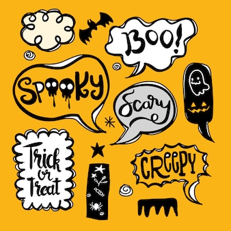 Halloween speech bubbles set with text: spooky, trick or threat, creepy, scary etc. vector illustration ,isolated