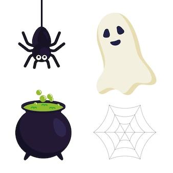 ハロウィーンクモゴースト魔女ボウルとクモの巣のデザイン、ハロウィーンのテーマ。