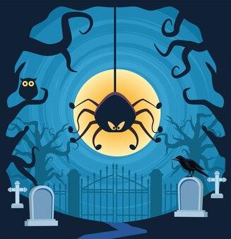 Хэллоуин паук висит на кладбище