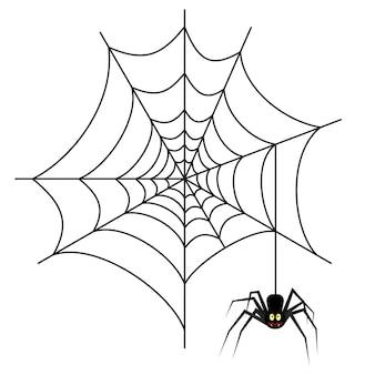 白い背景で隔離のウェブ上のハロウィーンのクモ。ハロウィーンのデザイン、ウェブサイト、チラシ、招待状のベクトル図