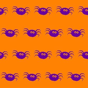 ハロウィーンのクモのシームレスなパターンの背景。オレンジ色のカバーで分離された抽象的なハロウィーンの紫色のクモ。デザインカード、招待状、ポスター、バナー、メニュー、アルバムなどの手作りハロウィンパターン。