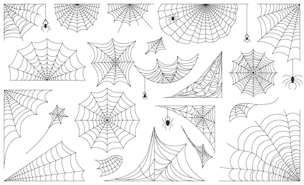 Паутина хэллоуина, черные рамки паутины, границы и углы. страшная паутина с пауками, набор векторных силуэт декоративной паутины. элементы декора осеннего праздника, изолированные на белом фоне