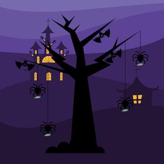 할로윈 거미와 박쥐 나무 디자인, 무서운 테마