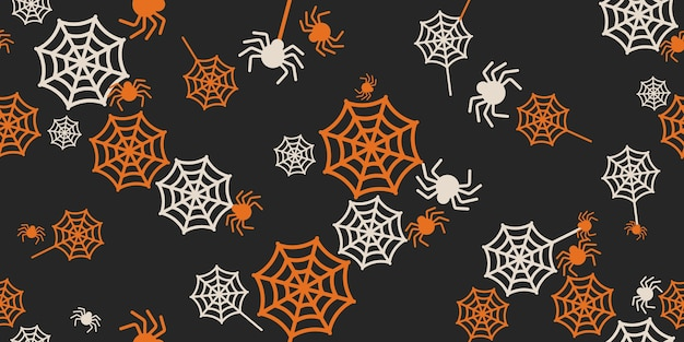 Хэллоуин пауки и паутины бесшовные модели