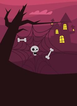두개골과 뼈가있는 할로윈 거미줄 트리 디자인, 무서운 테마