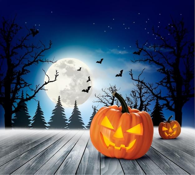 Хэллоуин пугающий фон. вектор