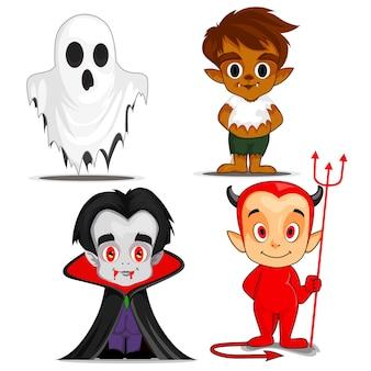 Halloween spooky cartoon characters