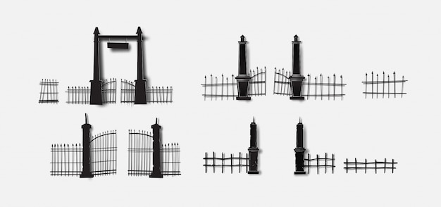 Halloween spooky gate cemetery character set collection