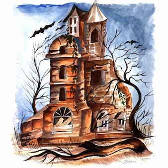 Halloween spooky house watercolor background