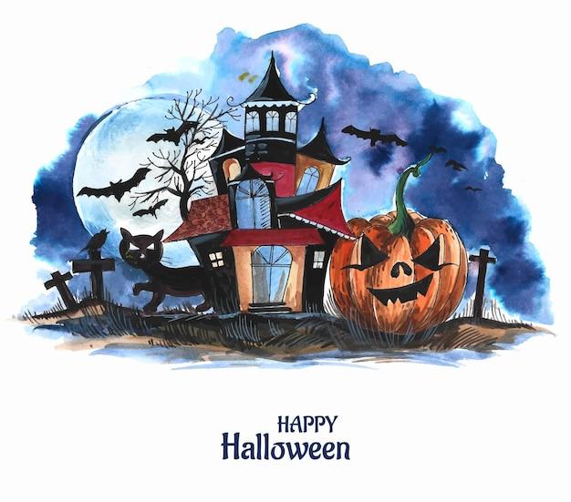 Хэллоуин жуткий дом акварель тыквы фон