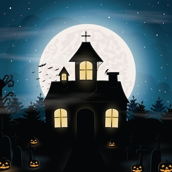 Halloween spooky illustration with old scary house pumpkins ghosts and bats