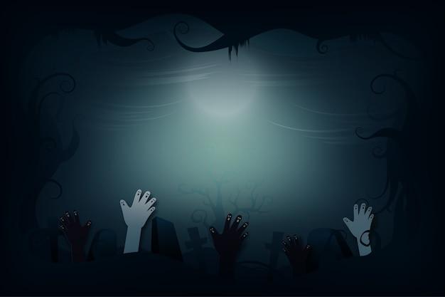 Хэллоуин жуткая ночь фон бумаги художественный стиль. рука зомби поднимается с кладбища. иллюстрация.