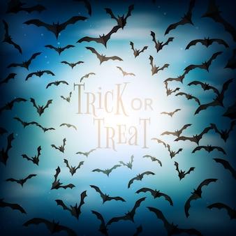 Хэллоуин жуткая ночь с летающими летучими мышами фон стиль вырезки из бумаги. кошелек или жизнь иллюстрация.
