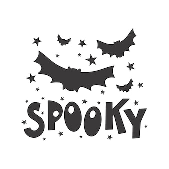 Halloween , spooky - silhouette text banner hand drawn creative calligraphy