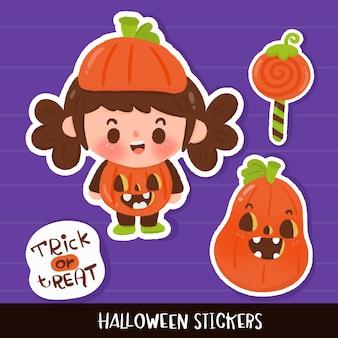 Halloween sticker decoration children wear fancy pumpkin kawaii cartoon
