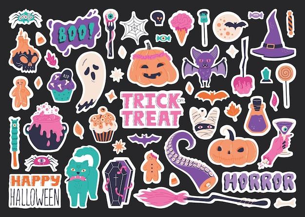 할로윈 스티커 세트 요소, 손으로 그린 무서운 그림. 호박, 박쥐 해골 촛대, 빗자루, 고양이가 있는 귀여운 배지 컬렉션입니다. 전통적인 으스스한 휴일 기호입니다. 벡터 템플릿, 배경